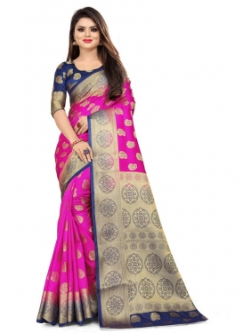 Navy Blue and Rose Pink Designer Traditional Saree