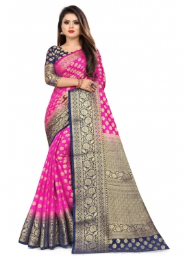 Navy Blue and Rose Pink Designer Traditional Saree For Casual