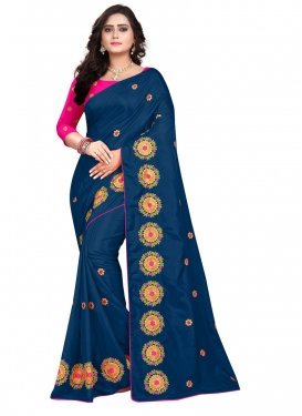 Navy Blue and Rose Pink Designer Traditional Saree For Ceremonial