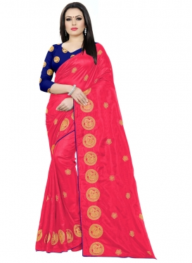 Navy Blue and Rose Pink Embroidered Work Art Silk Trendy Classic Saree
