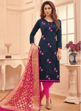 Navy Blue and Rose Pink Embroidered Work Trendy Churidar Suit