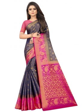 Navy Blue and Rose Pink Jacquard Silk Traditional Designer Saree