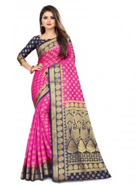 Navy Blue and Rose Pink Malbari Silk Designer Contemporary Style Saree