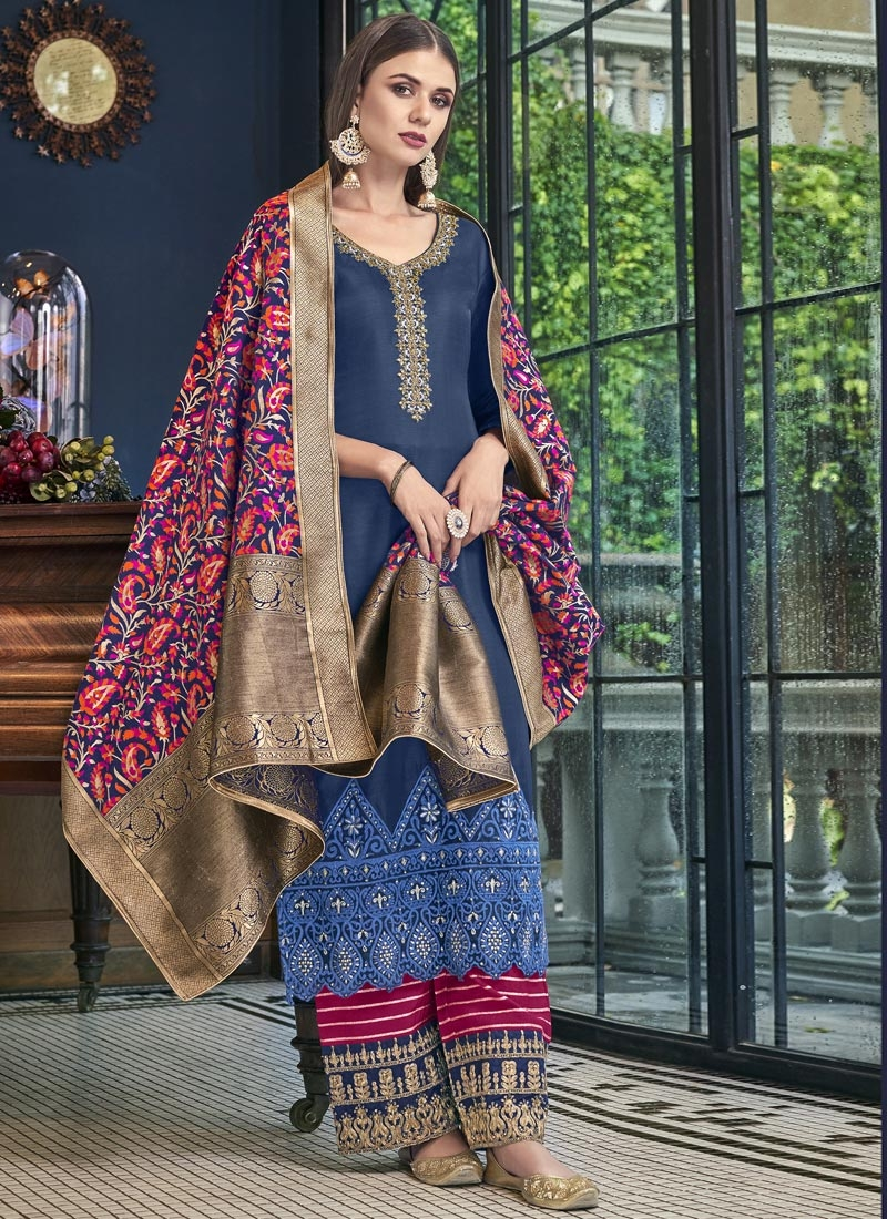 Navy Blue and Rose Pink Pant Style Pakistani Salwar Kameez For Ceremonial