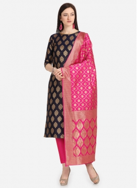 Navy Blue and Rose Pink Pant Style Salwar Kameez