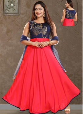 Navy Blue and Rose Pink Poly Silk Readymade Designer Gown For Ceremonial