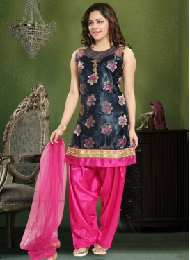 Navy Blue and Rose Pink Readymade Suit For Ceremonial