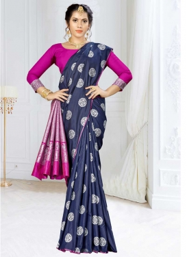 Navy Blue and Rose Pink Thread Work Classic Saree