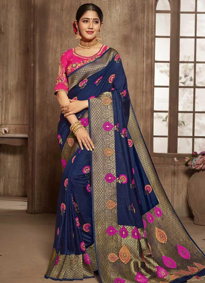Navy Blue and Rose Pink Traditional Designer Saree