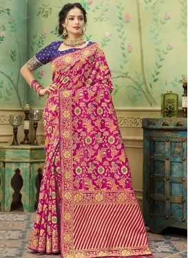 Navy Blue and Rose Pink Traditional Designer Saree For Ceremonial