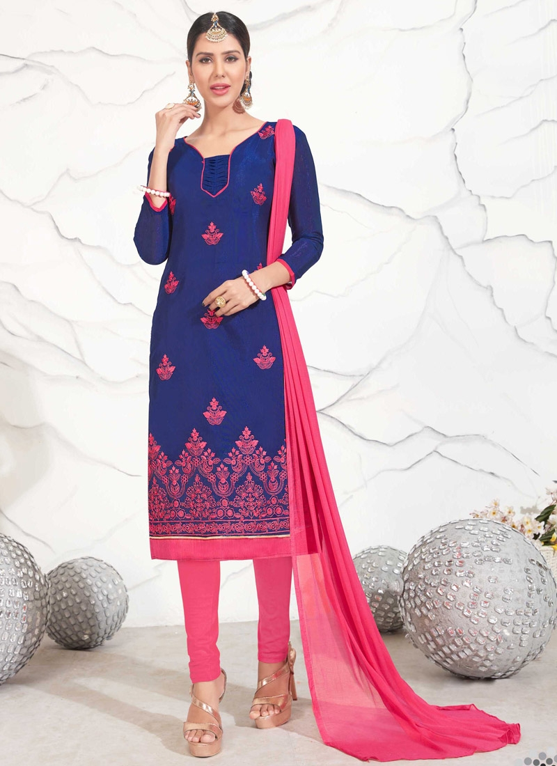 Navy Blue and Rose Pink Trendy Churidar Salwar Kameez