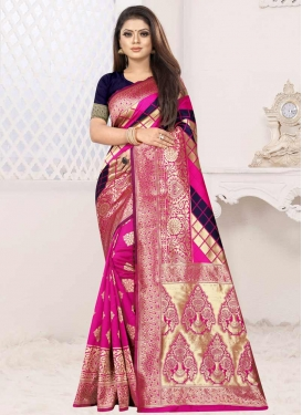 Navy Blue and Rose Pink Trendy Classic Saree For Casual