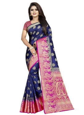 Navy Blue and Rose Pink Trendy Classic Saree For Ceremonial