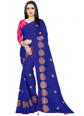 Navy Blue and Rose Pink Trendy Saree For Festival