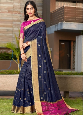 Navy Blue and Rose Pink Woven Work Cotton Silk Designer Contemporary Style Saree