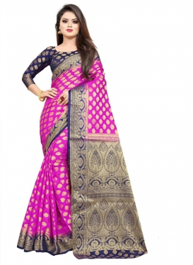 Navy Blue and Rose Pink Woven Work Designer Contemporary Style Saree