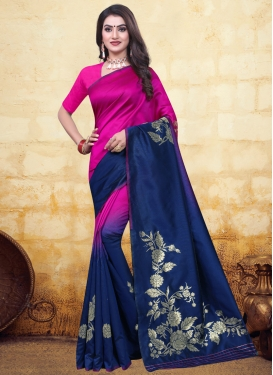 Navy Blue and Rose Pink Woven Work Traditional Designer Saree