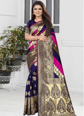 Navy Blue and Rose Pink Woven Work Trendy Classic Saree