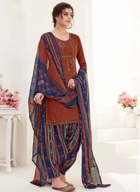 Navy Blue and Rust Digital Print Work Punjabi Salwar Kameez