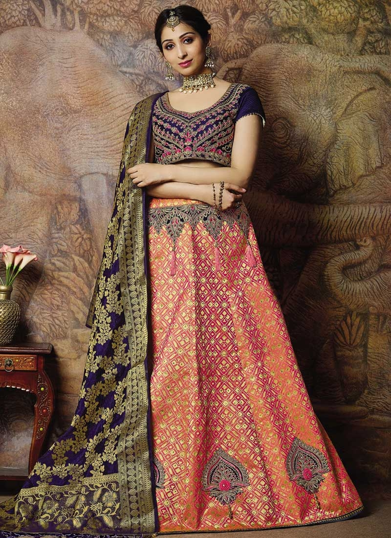 Navy Blue and Salmon Booti Work Lehenga Choli