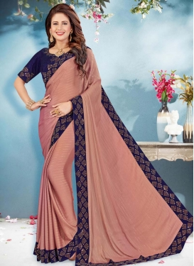 Navy Blue and Salmon Lace Work Designer Contemporary Style Saree