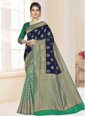 Navy Blue and Sea Green Art Silk Half N Half Saree For Casual