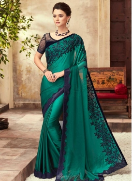 Navy Blue and Sea Green Designer Contemporary Style Saree