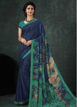 Navy Blue and Sea Green Digital Print Work Designer Contemporary Style Saree