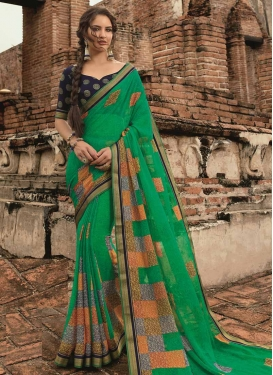 Navy Blue and Sea Green Digital Print Work Traditional Designer Saree
