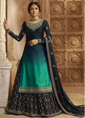 Navy Blue and Sea Green Drashti Dhami Satin Georgette Kameez Style Lehenga