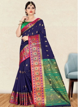 Navy Blue and Sea Green Thread Work Art Silk Trendy Classic Saree