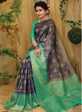 Navy Blue and Sea Green Thread Work Trendy Saree