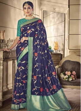 Navy Blue and Sea Green Traditional Designer Saree