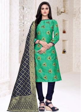 Navy Blue and Sea Green Trendy Churidar Salwar Kameez For Casual