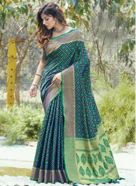 Navy Blue and Sea Green Woven Work Contemporary Style Saree