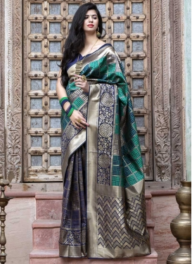 Navy Blue and Sea Green Woven Work Designer Contemporary Saree