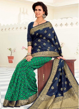 Navy Blue and Sea Green Woven Work Half N Half Saree