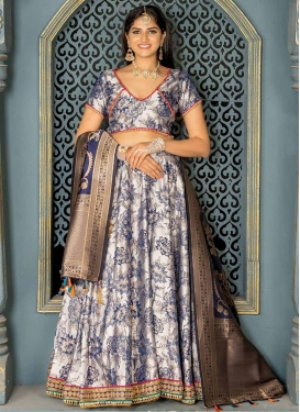 Navy Blue and Silver Color A - Line Lehenga For Festival