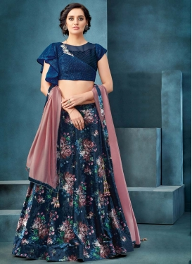 Navy Blue and Teal Beads Work A Line Lehenga Choli