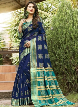 Navy Blue and Teal Contemporary Style Saree