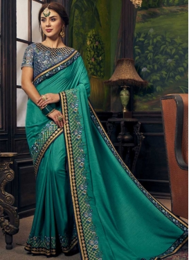 Navy Blue and Teal Contemporary Style Saree For Ceremonial