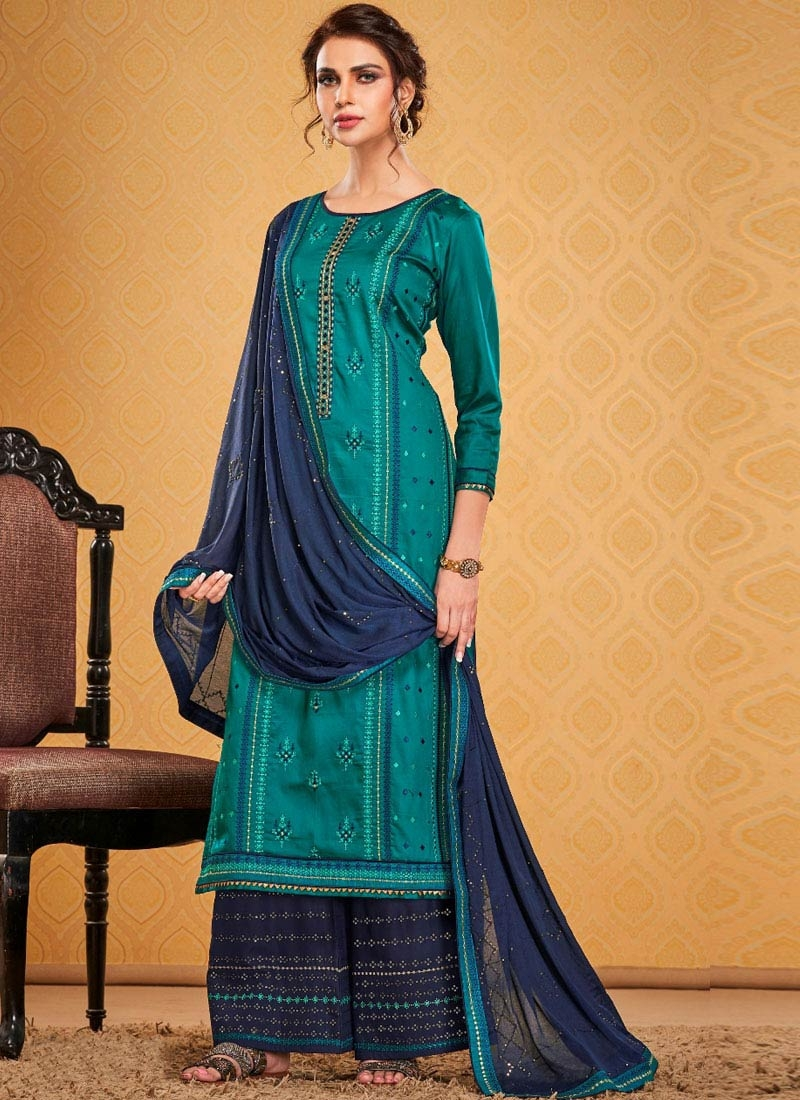 Navy Blue and Teal Cotton Silk Palazzo Style Pakistani Salwar Kameez