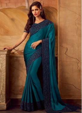 Navy Blue and Teal Designer Contemporary Style Saree For Festival