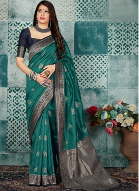 Navy Blue and Teal Designer Traditional Saree