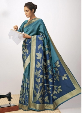 Navy Blue and Teal Designer Traditional Saree For Festival