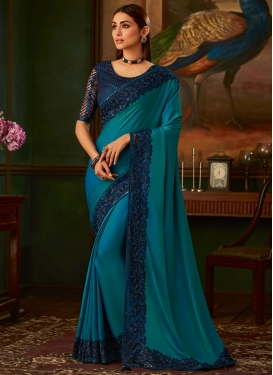 Navy Blue and Teal Embroidered Work Designer Contemporary Saree