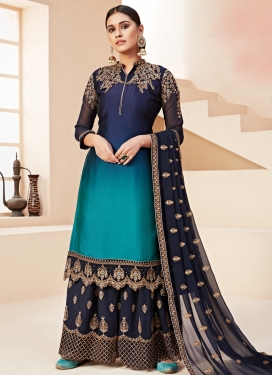 Navy Blue and Teal Embroidered Work Palazzo Straight Salwar Kameez