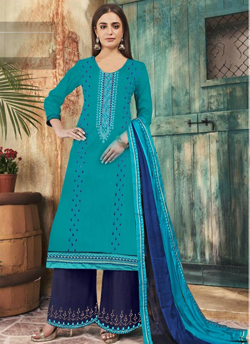 Navy Blue and Teal Embroidered Work Palazzo Style Pakistani Salwar Kameez