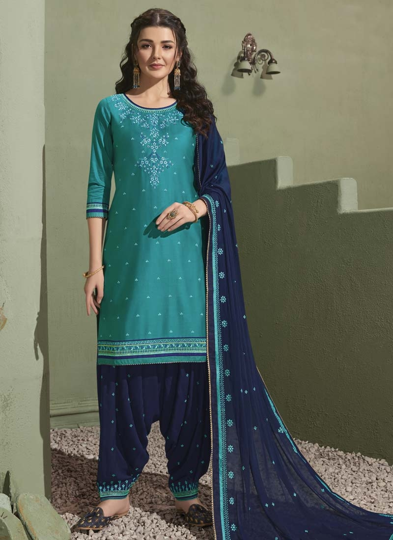 Navy Blue and Teal Embroidered Work Semi Patiala Salwar Suit