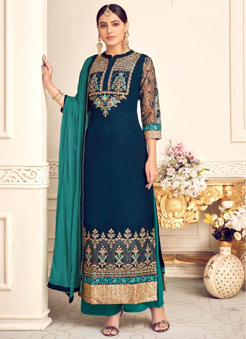 Navy Blue and Teal Faux Georgette Palazzo Style Pakistani Salwar Suit